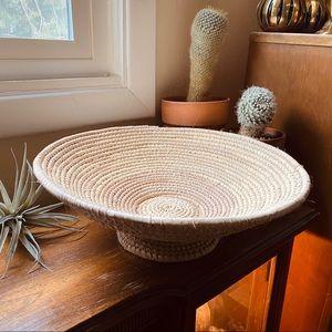 Large Handwoven Pedestal Bowl Basket